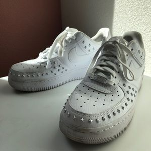 Nike Silver Star Studded Air Force 1s